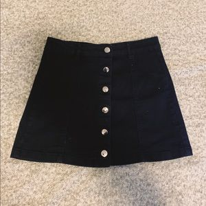 Forever 21 Button Front Black Mini Skirt